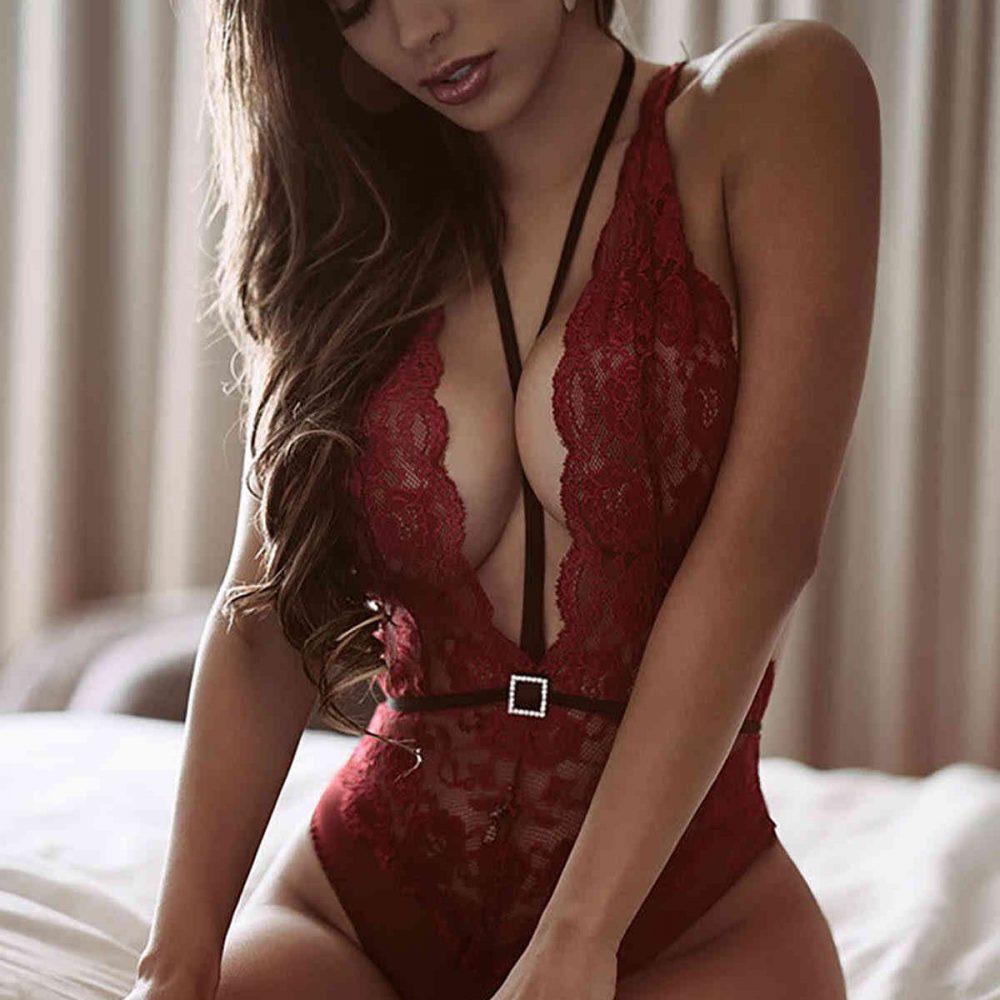 Merry See Kırmızı Dantel Body Fantazi İç Giyim