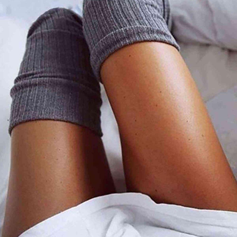 Merry See Parfümlü Örgü Diz Üstü Çorap Gri