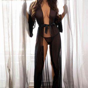 Merry See Uzun Tül Sabahlık Gecelik İç Giyim Siyah